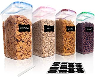 Vtopmart Cereal Storage Container Set, BPA Free Plastic Airtight Food Storage Containers 135.2oz for Cereal, Snacks and Sugar, 4 Piece Set Cereal Dispensers with 24 Chalkboard Labels