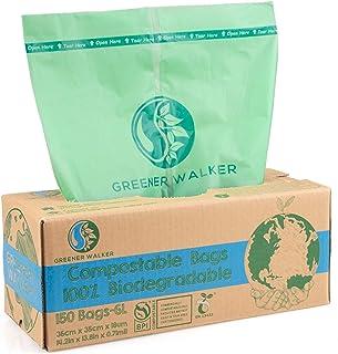 Greener Walker 6L-150 zakken 100% composteerbare biologisch afbreekbare afvalzakken 6 l/10 l/30 l keuken levensmiddelen af...