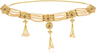 WomenSky 4 Layer Gold Plated Pearl Stylish Kamarband/Hip Chain/Kamarpatta for Women and Girls Wear On Saree/lahnga and Eth...