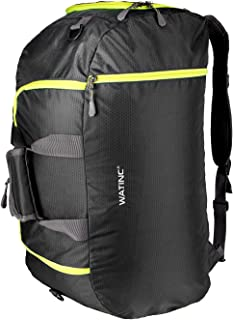 WATINC 50L 3-Way Travel Duffel Backpack Luggage Gym Sports Bag with Shoe Compartment(black)