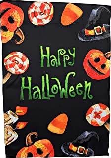 Happy Halloween Candy Corn Jack-o'-Lantern Garden Flag; Halloween Decoration; 12.5 x 18 inches; Double Sided Seasonal Decorative Banner