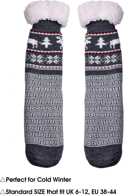 WYTartist Mens Slipper Socks Fuzzy Warm Fleece Lined Non-Skid Soles Thick Heavy Christmas Deer Winter Socks