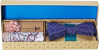 Original Penguin 男式 3 件套图案领带,口袋方形和翻领别针盒,*蓝,均码