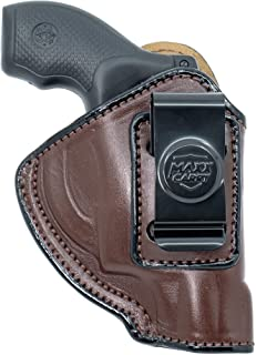 Maxx Carry IWB Leather J Frame Revolver Holster for S&W Models 442 and 642 Airweight, 637, 638, 640 and Other .38 Special Snub Nose Revolvers