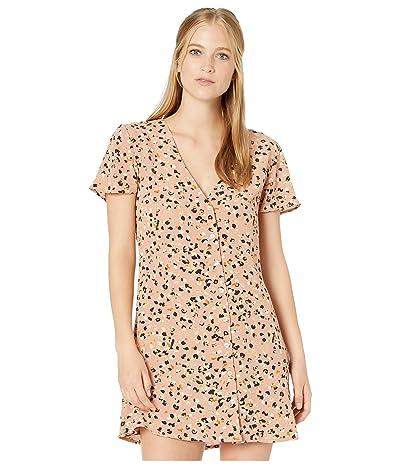 RVCA Pebble Button-Up Dress (Brown) Women