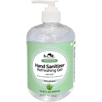 I'm K Hand Sanitizer Gel with Ethyl Alcohol 70% and Aloe, Large Size 16.9 Fl Oz(500ml), Made In South Korea, Aloe for Skin Moisture, Formulated in Accordance with WHO Recommendations