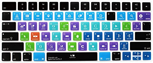 HRH Final Cut Pro X Functional Shortcut Hotkey Keyboard Cover Silicone Skin for Apple Magic Wireless Bluetooth Keyboard MLA22LL/A (A1644,2015 Released) with US Layout