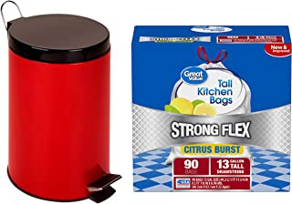 A.T. Products Corp. Honey Can Do 12-Liter Stainless Steel Step Trash Can, Red Bundle with Great Value Strong Flex Tall Kitchen Drawstring Trash Bags, Citrus Burst, 13 Gallon, 90 Count