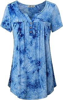 JCZHWQU Women's Notch Neck Short Sleeve Casual Tunic Top Flowy Shirt