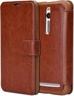 Asus ZenFone 2 Case Wallet - Mulbess [Layered Dandy][Coffee Brown] - [Slim][Wallet Case] - Premium Leather Flip Case With Credit Card Slot for Asus ZenFone 2 (5.5