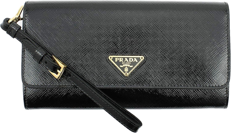 Prada Saffiano Patent Leather Clutch Wristlet Wallet, Black