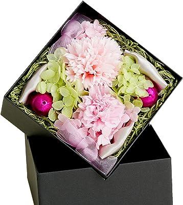 FLABEL 母の日 プリザーブドフラワー ボックスフラワー カーネーション Prienjou ケース入り ピンク