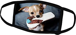 3dRose Face Mask Medium, Image of Cute Chihuahua With Slipper In Mouth
