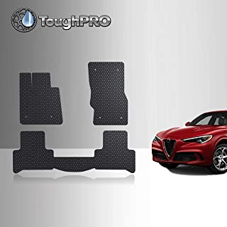 TOUGHPRO Floor Mat Accessories Set (Front Row + 2nd Row) Compatible with Alfa Romeo Stelvio - All Weather - Heavy Duty - (Made in USA) - Black Rubber - 2018, 2019, 2020, 2021