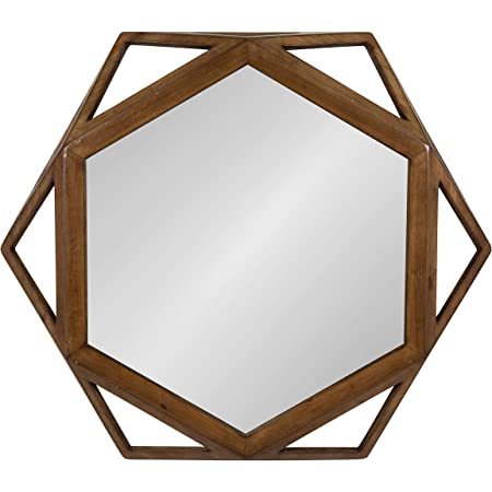 Amazon Com Kate And Laurel Cortland Rustic Modern Geometric Octagon Shaped Wood Accent Wall Mirror Rustic Caramel Finish 24x27 Inches Home Kitchen