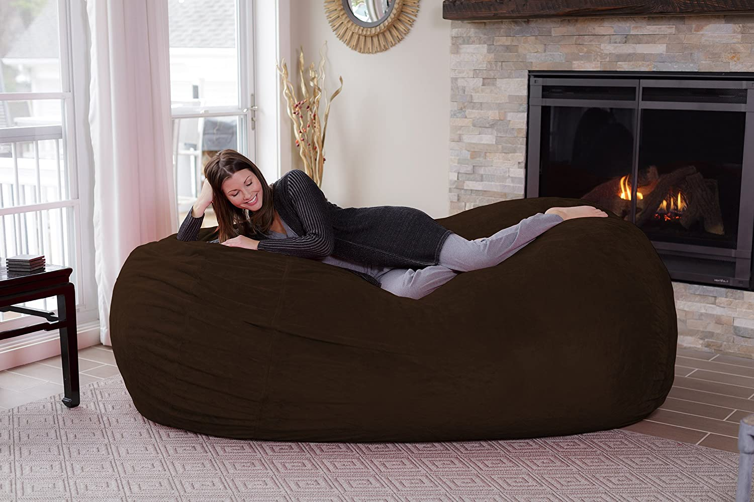 Huge 7.5 Memory Foam Furniture Bag and Large Lounger Big Sofa with Soft Micro Fiber Cover Chill Sack Bean Bag Chair Pink