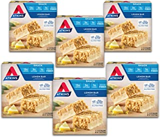 Atkins Gluten Free Snack Bar, Lemon Bar, Keto Friendly, 7.05 Ounce (Pack of 6)