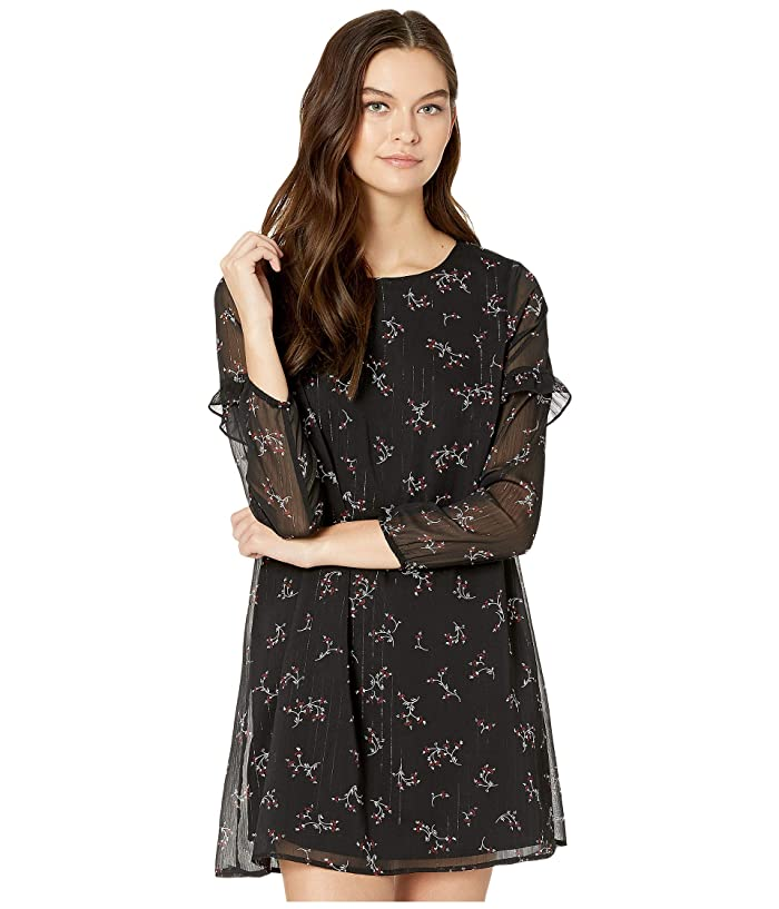 Jack by BB Dakota  Swingin Party Florally Known Printed Lurex Chiffon A-Line Dress (Black) Womens Dress