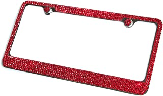 Hotblings 6 Row RED Made w/Swarovski Crystals Metal Bling License Plate Frame & Caps