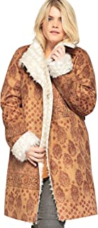 Women's Plus Size Printed Faux-Shearling Coat with Shawl Collar