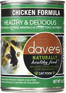 Dave's Naturally Healthy Chicken Formula for Cats - Canned Cat Food - Case of 60x12.5 Ounce Cans (60-Pack)