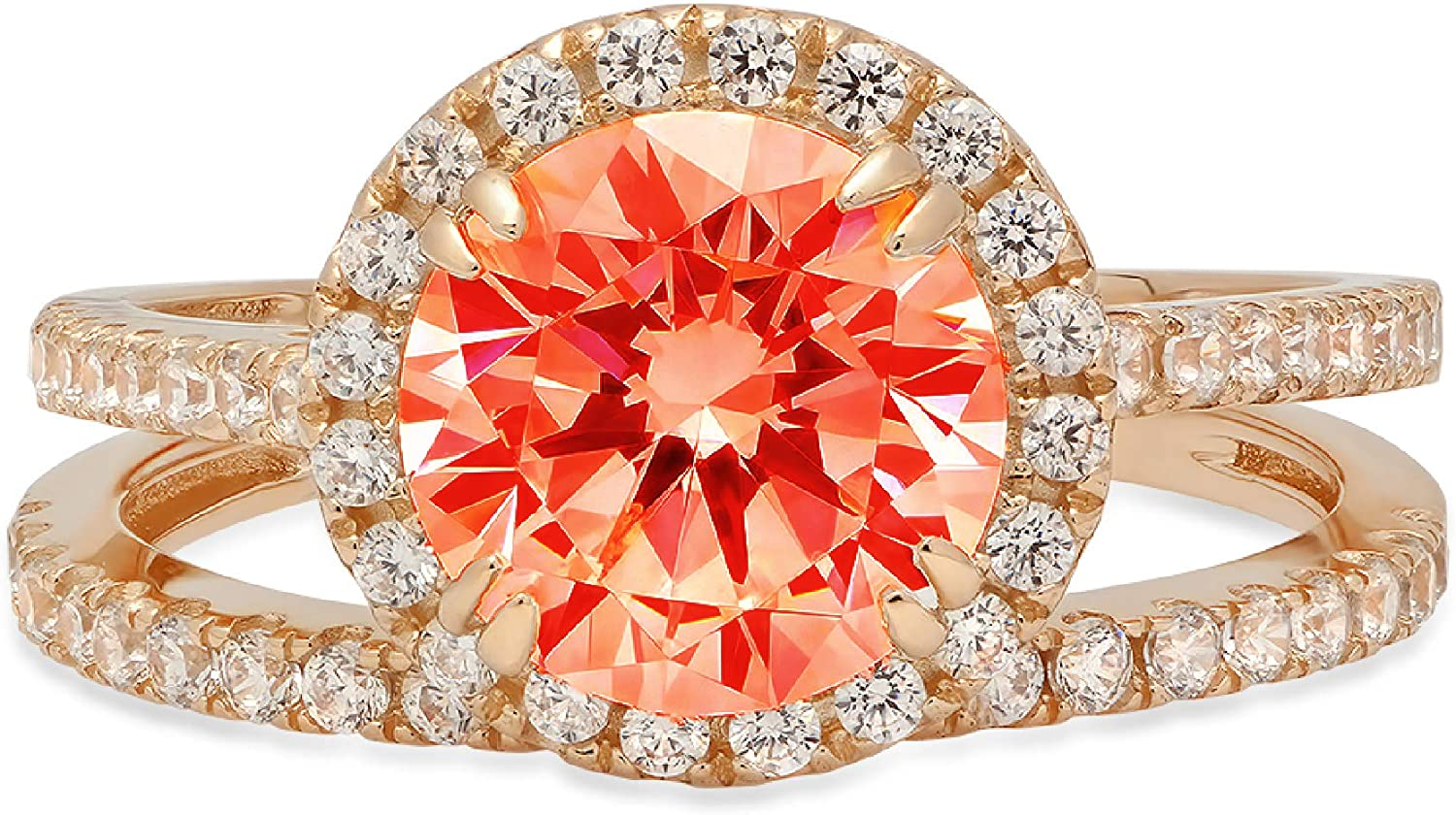 2.66ct Round Cut Halo Pave Solitaire with Accent VVS1 Ideal Red Simulated Diamond CZ Engagement Promise Designer Anniversary Wedding Bridal ring band set 14k Yellow Gold