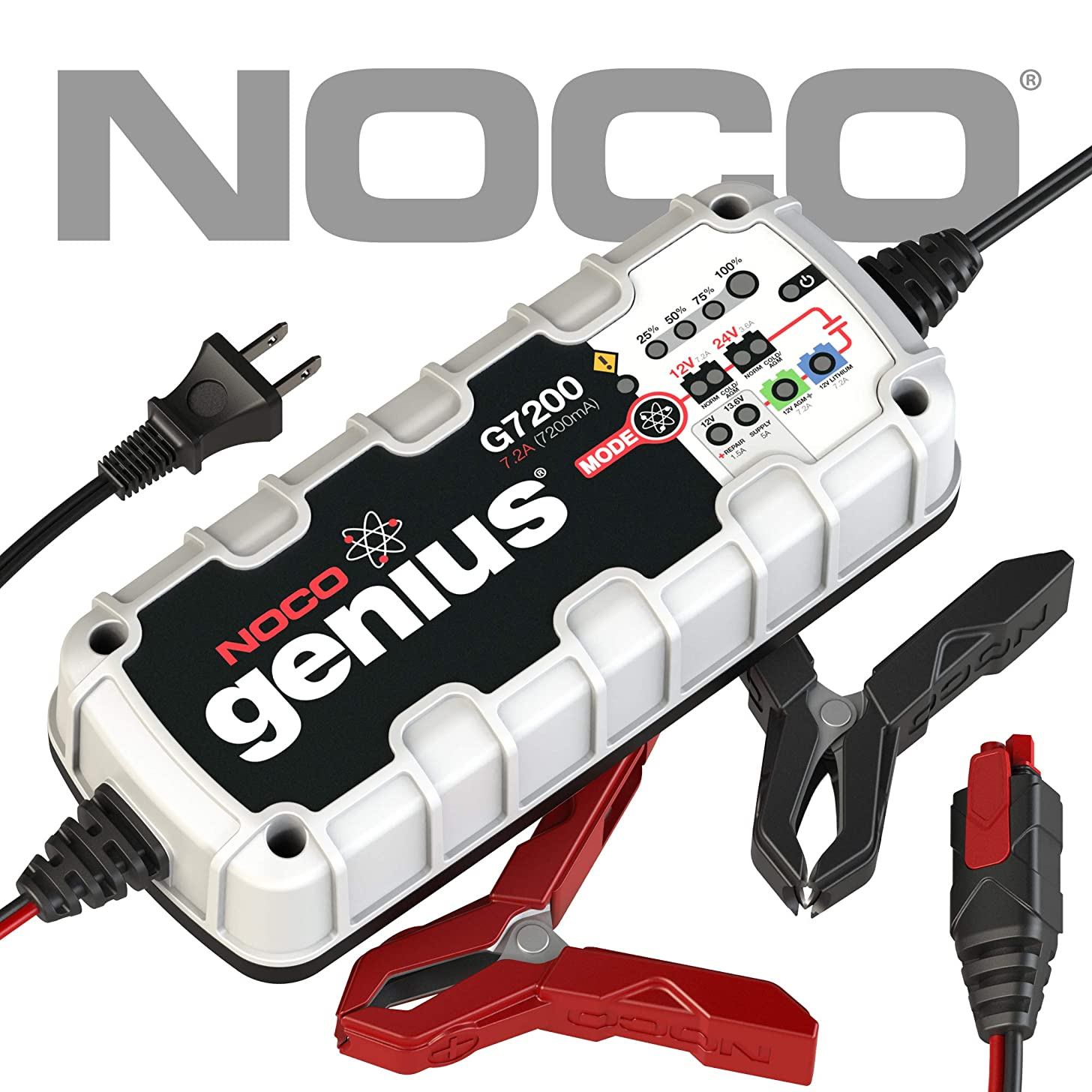 NOCO Genius G7200 12V/24V 7.2 Amp Battery Charger and Maintainer