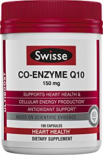 Swisse Ultiboost CoQ10 Co-Enzyme Q10 | Antioxidant for Heart Health, Energy Production| 150 mg, 180 Tablets