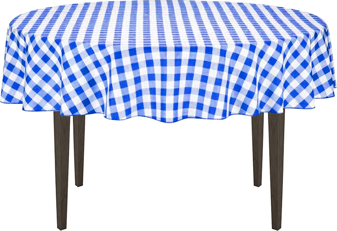 LinenTablecloth 70 Inch Round Polyester Tablecloth Blue White Checker