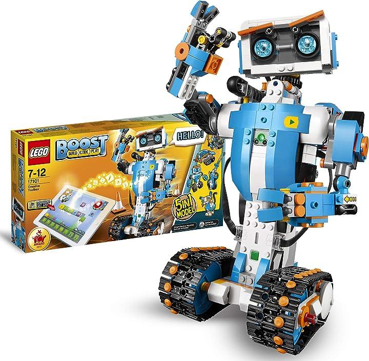 Lego boost toolbox creativa, kit di robotica per ragazzi, modello da costruire 5 in 1 controllato via app 17101