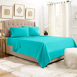 """Empyrean Bedding 14"""" - 16"""" Deep Pocket Fitted Sheet 4 Piece Set - Hotel Luxury Soft Double Brushed Microfiber Top Sheet - Wrinkle Free Fitted Bed Sheet, Flat Sheet and 2 Pillow Cases - Queen, Teal"""