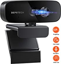 Webcam with Microphone, DEPSTECH 1080P HD Webcam, Streaming Web Camera for Desktop & Laptop, USB Plug and Play, Computer Camera for Studying Online, Video Conferencing, and Recording