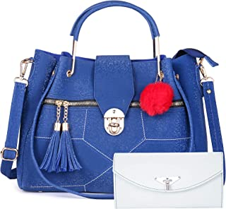 Fiesto Fashion PU Leather Handbags with Sling Bag for Women (Combo of 2) (Blue)