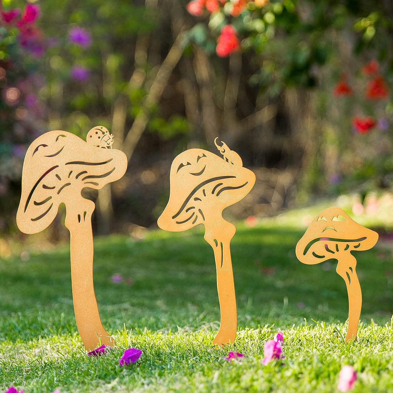 TT & MM Metal Garden Decor Silhouette Yard Stake - Outdoor Mushroom Garden Decoration Plants Ornament, Lawn Yard Decoration Gift Set
