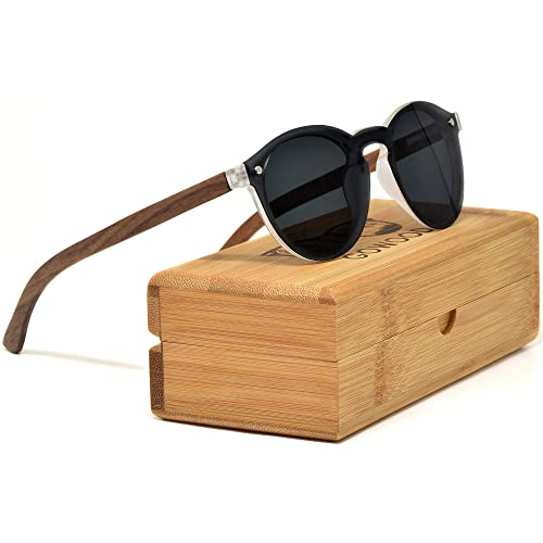 c50b4c74d7d Round Reflective Wood Sunglasses For Women   Men with Special One Piece  Style Polarized Lens and