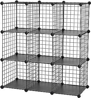 SONGMICS Armoire de Rangement, Étagère en Maille, 9 Cubes, 93 x 31 x 93 cm (L x l x H), Noir LPI115H