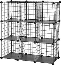 SONGMICS Planksysteem insteekrek individueel instelbaar 9 vakken zwart van draadgaas 93 x 31 x 93 cm (B x H x D), LPI115H,...