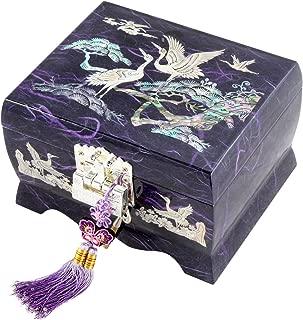 Fun-Store Nacre Inlay Mother of Pearl Music Jewellery Storage Chest Wooden Box Crane with Pine Tree Design Jewelry Mirror Box Keepsake Treasure Gift Box Trinket Case Organizer (Purple)