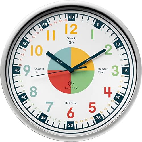 Telling Time Teaching Clock. Kids Room, Playroom Décor Analogue Silent Wall Clock. Great Visual Learning Clock Time R...