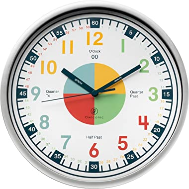 Telling Time Teaching Clock. Kids Room, Playroom Décor Analogue Silent Wall Clock. Great Visual Learning Clock Time Resource.