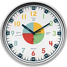 Telling Time Teaching Clock - Kids Room, Playroom Décor Analog Silent Wall Clock. Great Visual Learning Clock Time Resourc...