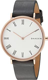 Skagen Slim Hald Grey Stainless Steel & Leather Watch SKW2674