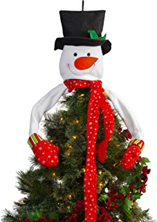 Besti Snowman Christmas Tree Topper (Plush) Large, Indoor Holiday Decoration | Jolly Frosty Hugging Fun with Mittens, Top Hat, Long Scarf | Festive Red, White, and Green