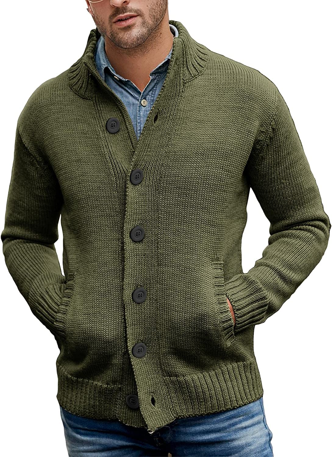 Angeun Mens Stand Collar Cardigan Sweater Long Sleeve Button Down Regular Fit Cable Knitted Outwear with Two Pockets