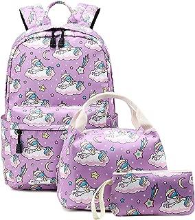Abshoo Cute Lightweight School Boobag Kids Unicorn Backpacks for Girls Backpacks with Lunch Bag (A Unicorn Purple)