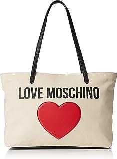 Love Moschino Borsa Canvas E Pebble Pu, Women's Top-Handle Bag, Black (Nero), 12x29x41 cm (W x H L)