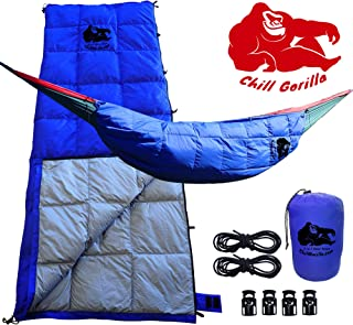 Chill Gorilla 30°F 800 Fill Power Down UNDERQUILT, Sleeping Bag, POD System for Hammocks. Designed for Hammock, Ground Camping or Backpacking. Blue