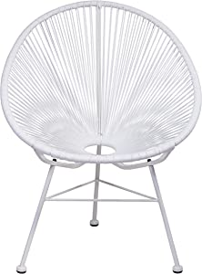 Design Tree Home Acapulco Indoor/Outdoor Lounge Chair, White Weave on White Frame