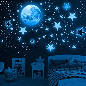 Glow in The Dark Stars for Ceiling,1049 PCS Blue Star and Moon Stickers for Girls,Ceiling Wall Decals, Adhesive Wall Stickers for Kids Room Nursery Bedroom Living Room Decor