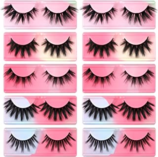 False Eyelashes 10 Pairs 5 Styles Natural 3D Faux Mink Lashes Pack Mixed Soft Reusable Wispy Fake Eyelashes Bulk with Rain...